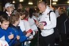 England's Mike Tindall, recently married to Princess Anne's daughter Zara Phillips,signs autographs at Auckland International Airport August 31 after the Team's arrival for the 2011 Rugby World Cup. Photo / Paul Estcourt