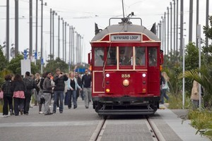 One of the Wynyard Quarter's trams opens to the public. Photo / Natalie Slade