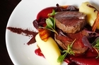 Roast eye fillet with beetroot purée, horseradish mash and baby beets at Chim-Choo-Ree. Photo / Christine Cornege