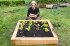 Justin Newcombe with his no-dig or sandwich garden. Photo / Richard Robinson