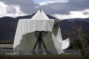 The damaged satellite dome at Waihopai. Photo / NZ Herald