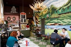 Interior of Oueenie's Lunchroom cafe in Ponsonby. Photo / Babiche Martens.