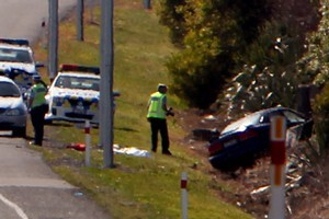 A woman died and a baby was injured when this car veered into a ditch on the Napier to Hastings expressway. Photo / Glenn Taylor