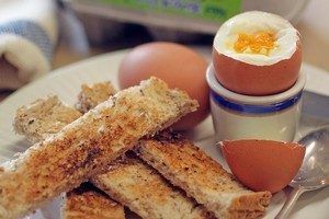 Boiled eggs and toast soldiers. Photo / Doug Sherring