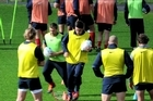 The French rugby union team has arrived in New Zealand to prepare for the 2011 Rugby World Cup to be played between September 9 and October 23. The squad took part in a training session at the Takapuna Rugby Club in Auckland.