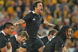 Piri Weepu performs the haka for the All Blacks. Photo / Getty Images