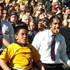 Te Puke students perform the haka for All Blacks. Photo / APN