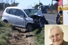 Allan Hubbard was in this car with his wife when it collided head on with a ute near Oamaru. Photo / ODT