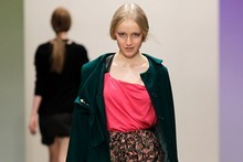 A model wears a creation by Life of Riley, one of five labels showcased at the Merino Show. Photo / NZ Fashion Week