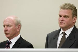 Former Bridgecorp directors Rod Petricevic (l) and Robert Roest. Photo / Richard Robinson