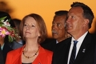 Australian Prime Minister Julia Gillard with her partner Tim Mathieson at the powhiri welcome for the Pacific Islands Forum at the Auckland War Memorial Museum. Photo / Getty Images