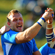 Lock Heinz Koll (C) of Namibia celebrates with his captain Jacques Burger (R) after scoring a try. Photo / Getty Images