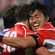James Arlidge of Japan is congratulated on his second try by Itaru Taniguchi. Photo / Getty Images
