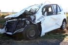 Allan and Jean Hubbard's car after the accident. Photo / Oamaru Mail