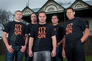 Maori TV's Rugby World Cup commentary team: Glen Osborne, Karl Te Nana, Te Arahi Maipi, Pat Lam, and Buck Shelford. Photo / Supplied