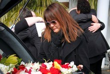 Vanessa Preechakul farewells her late boyfriend Robert Rippingale. Photo / Amos Chapple 