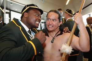 Springbok hooker Chiliboy Ralepelle hams it up with warrior Toa Waaka during  the official welcome to Wellington. Photo / Mark Mitchell