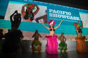 Cook Island dancers wow delegates as part of the Pacific Showcase welcome at the Cloud. Photo / Paul Estcourt