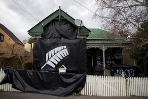 There's no mistaking who the inhabitants of this Ponsonby house support. Photo / Richard Robinson