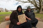 Homeless friends Rory, left, and Wiremu. Photo / Doug Sherring