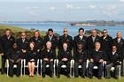 Pacific Leaders pose for a group photograph - in their 'silly shirts' at Cable Bay vineyard during the leaders retreat as part of the Pacific Forum. Photo / Greg Bowker