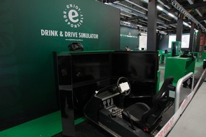 The Heineken World Bar in Shed 10 has various attractions including a drink-drive simulator for sober patrons. Photo / Richard Robinson