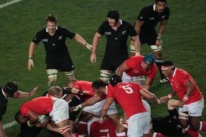 Tonga tested the All Blacks. Photo / Richard Robinson