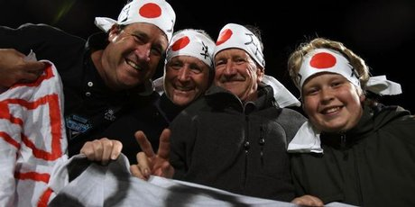 Fans (L-R) Scott Cordes , Ian Little , Kerry Cordes and Aaron Cordes were joined by other Kiwis supporting Japan. Photo / Janna Dixon