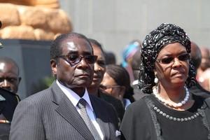 Zimbabwean President Robert Muagbe with his wife Grace. Photo / AP
