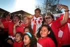 Tonga's captain, Finau Maka, could not have put it better when he said that he thought they were landing in Nuku'alofa, such was the fervour of their arrival. Photo / Brett Phibbs