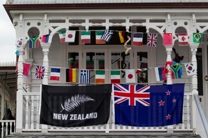 Houses on Tongariro Street are supporting the countries of the Rugby World Cup. Photo / Richard Robinson