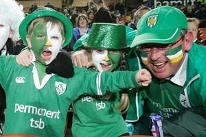 Irish fans get into the spirit of things. Photo / Chris Skelton