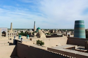 View over the ancient Silk Road town of Khiva. Photo / Jim Eagles