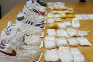 Part of the $10 million worth of methamphetamine ten Malaysians tried to smuggle into New Zealand through Auckland International Airport in their shoes in April. Photo / Greg Bowker