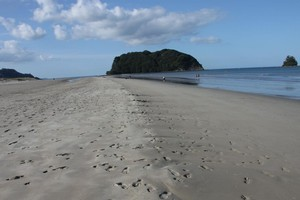 Whangamata, looking along the beach from Otahu Estuary to the point - a popular walk for exercisers. Photo / Coastal News