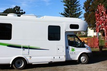 Jim Eagles finds an idyllic spot at Torere School to stop for a cuppa in the Kea Dreamtime motorhome. Photo / Jim Eagles
