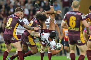 Sam Thaiday's tackle on Brent Kite could cost him a place in the NRL finals. Photo / Getty Images