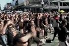 A haka flash mob took place at the bottom of Queens St today ahead of tonight's Rugby World Cup opener.