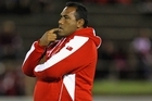 Tongan coach Isitolo Maka watches a team training ahead of Friday night's Rugby World Cup opener. Photo / Getty Images