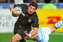 Ben Youngs scores England's only try in their Rugby World Cup pool B match against Argentina. Photo / Getty Images 