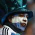 An Argentina fan almost cringes as England scores another try for their country. Photo / Getty Images