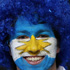 A spirited Argentina fan has his national flag painted on his face in all its glory. Photo / Getty Images