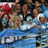 Argentina fans stand tall near the try line. Photo / Getty Images