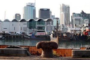 The view from Wynyard Wharf of the new Viaduct Events Centre, on left, and downtown Auckland. Photo / Janna Dixon