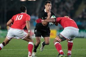 Dan Carter in action against Tonga. Photo / Brett Phibbs