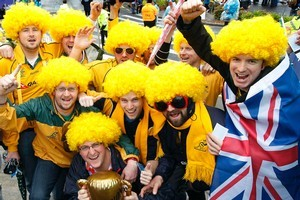 No prizes for guessing who these Aussie blokes are supporting during their week in New Zealand. Photo / Sarah Ivey