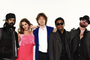 Damian Marley, Joss Stone, Mick Jagger, A.R. Rahman and Dave Stewart of the new supergroup 'SuperHeavy'. Photo / Supplied