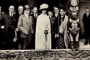 Mataatua Wharenui was shipped overseas in 1879 and in 1924 was photographed with King George V and Queen Mary. Photo / Supplied