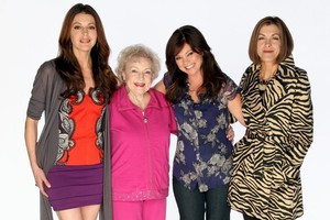 Betty White, pretty in pink, co-stars in 'Hot in Cleveland.' Photo / Supplied