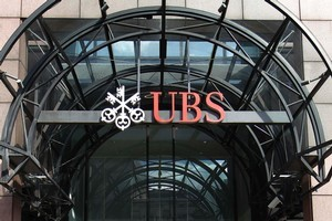 The street frontage of UBS bank's London branch.  Photo / AP